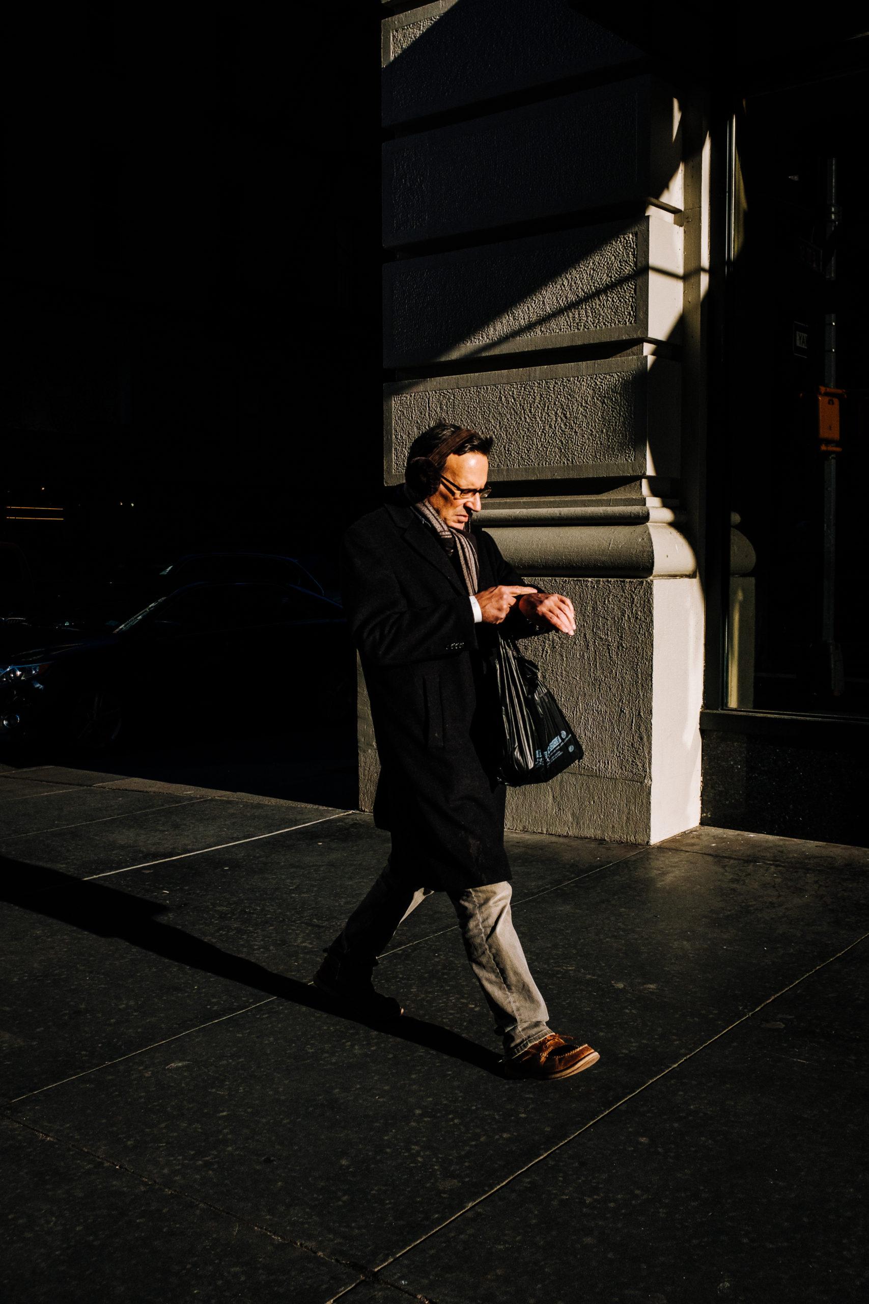 busy man walking