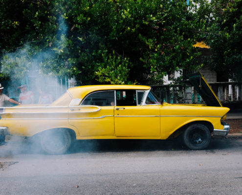 yellow car smoke